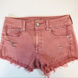 American Eagle Dusty Pink Denim Distressed Shorts
